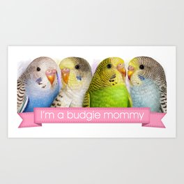 I'm A Budgie Mommy Realistic Painting Art Print