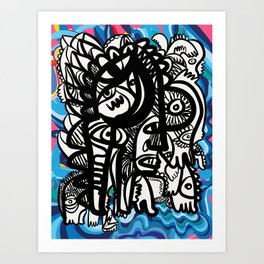 Black and White Graffiti Creatures and Pop Art Pattern Blue Lines Art Print