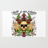 religion Area & Throw Rugs featuring Faith is my religion by Tshirt-Factory