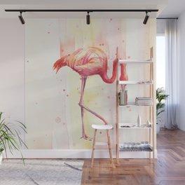 Pink Flamingo Rain | Facing Right Wall Mural