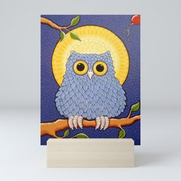 Little Blue Owl and Mandala Moon Mini Art Print