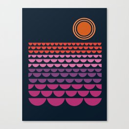 Gee Wiz - retro throwback minimal 70s style classic vibes sunset beach ocean socal 1970's poster Canvas Print