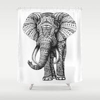 orange pattern Shower Curtains featuring Ornate Elephant by BIOWORKZ