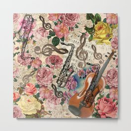 Vintage pink bohemian roses classical notes musical instruments Metal Print
