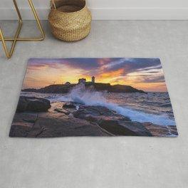 Mother Nature's Canvas- Nubble Lighthouse Sunrise Rug