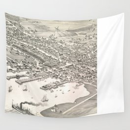 Vintage Pictorial Map of Nantucket (1881) Wall Tapestry