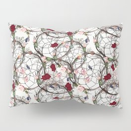 Boho pattern with dreamcatcher, roses and cactuses Pillow Sham