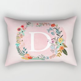 Flower Wreath with Personalized Monogram Initial Letter D on Pink Watercolor Paper Texture Artwork Rectangular Pillow