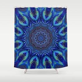Blue Spiral Kaleidoscope Shower Curtain