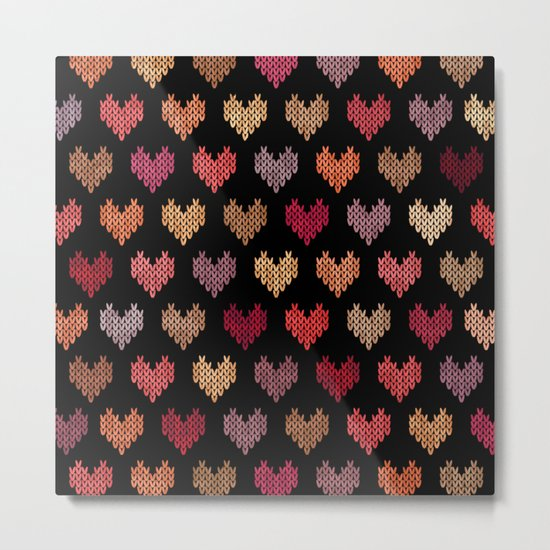 Colorful Knitted Hearts VII Metal Print