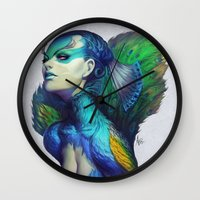 artgerm Wall Clocks featuring Peacock Queen by Artgerm™