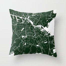 Amsterdam Green on White Street Map Throw Pillow