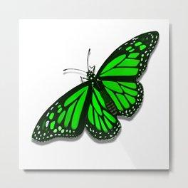 Green Monarch Butterfly Metal Print