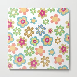Retro 60s Hippie Flowers Metal Print