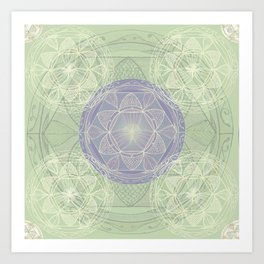 Mandala Pattern in Mint and Lilac Art Print
