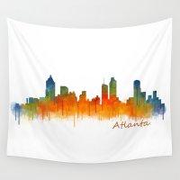 atlanta Wall Tapestries featuring Atlanta City Skyline Hq v2 by HQPhoto