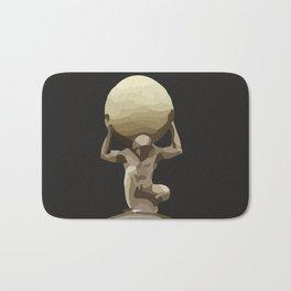 Man with Big Ball Illustration dark grey Bath Mat