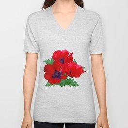 Red oriental poppies Unisex V-Neck