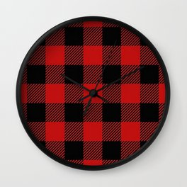 Western Country Woodland Christmas Cottage Primitive lumberjack Buffalo Plaid Wall Clock