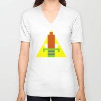 8 bit V-neck T-shirts featuring 8-Bit Hero by Tiny Pixel Designs