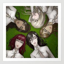 Girls on the grass Art Print