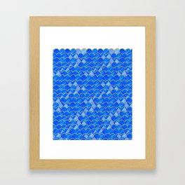 Blue, White & Gold Mermaid Framed Art Print