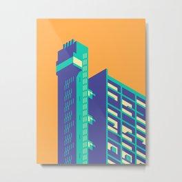 Trellick Tower London Brutalist Architecture - Plain Apricot Metal Print