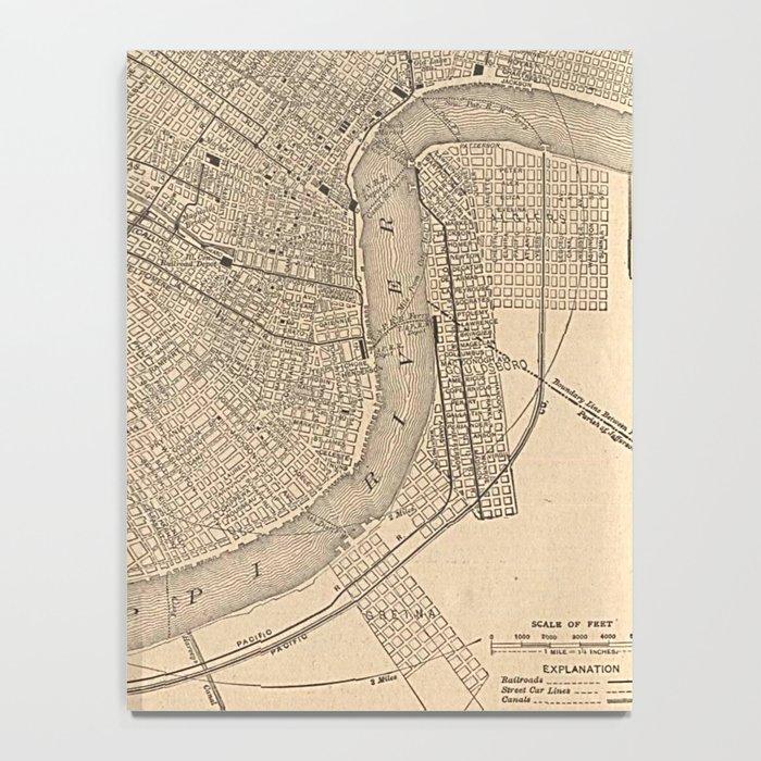 Vintage Map of New Orleans LA (1908) Notebook