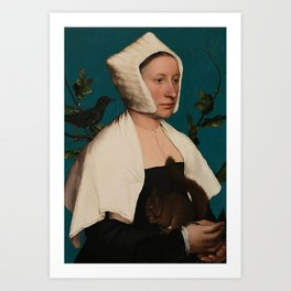 PORTRAIT OF A LADY WITH A SQUIRREL AND A STARLING - HANS HOLBEIN Art Print