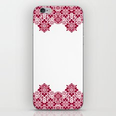 Retro .Vintage . Red lace on a white background . iPhone & iPod Skin