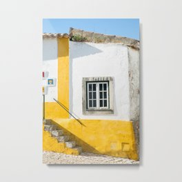 Yellow and White House, Óbidos Metal Print