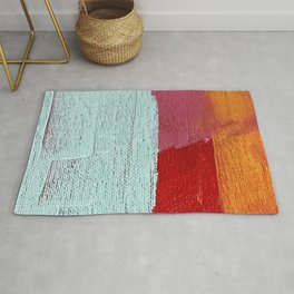 Desert Daydreams [2]: a vibrant, colorful abstract acrylic piece in pink, red, orange, and blue Rug