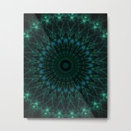 Mandala in dark green and blue tones Metal Print