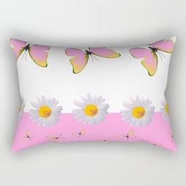 MODERN ART PINK BUTTERFLIES & WHITE DAISIES Rectangular Pillow