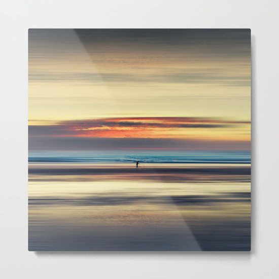 Along Memory Lines - Abstract Seascape Metal Print
