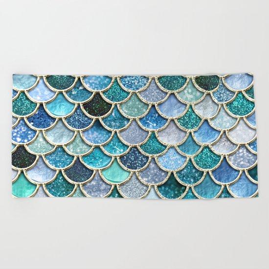 Multicolor aqua mermaid scales - Beautiful abstract glitter pattern Beach Towel