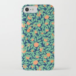 Oranges and Leaves Pattern - Navy Blue iPhone Case