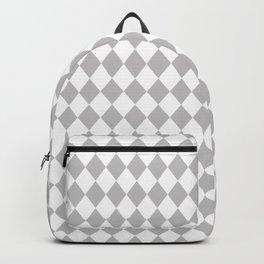 Grey Fog Modern Diamond Pattern on White Backpack