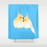 cuddle Shower Curtains featuring Cuddle Birds by YumemiDesign