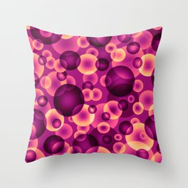 psychedelic pink and golden spheres floating in the space digital graphic design Throw Pillow