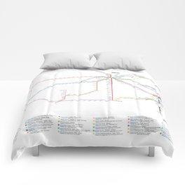 Amtrak Passenger Rail System Map Comforters