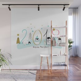 Happy New Year 2018 with penguins Wall Mural