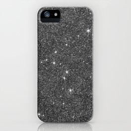 Modern elegant black faux glitter luxury pattern iPhone Case