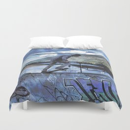 Tipping Point -Skateboarder Launching - Outdoor Sports Duvet Cover