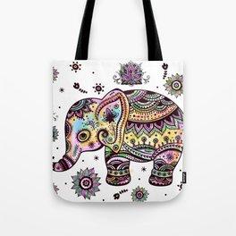 Cute Colorful Elephant Illustration Tote Bag