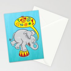 Circus elephant saying bad words Stationery Cards