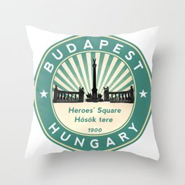 Budapest, Heroes' Square, Hosök tere, Hungary, circle, green Throw Pillow
