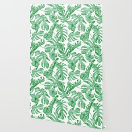 Tropical Island Leaves Green on White Wallpaper