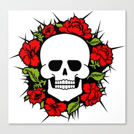 Skull and flowers. Skeleton head and roses. Death and love Canvas Print