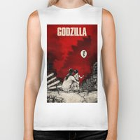 godzilla Biker Tanks featuring Godzilla.  by Sinpiggyhead